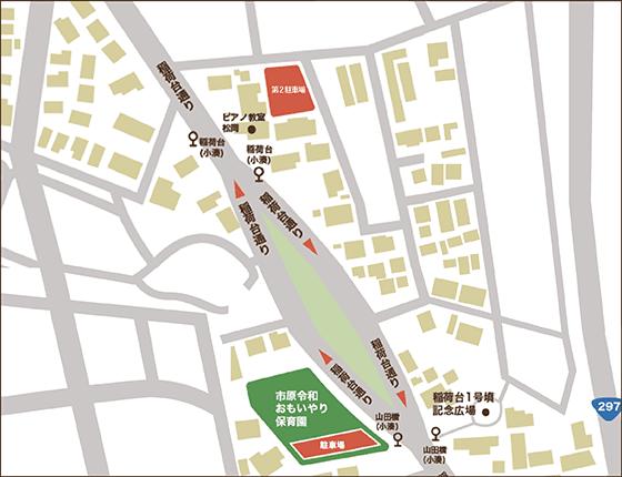 来客者(保護者含)駐車場の案内地図